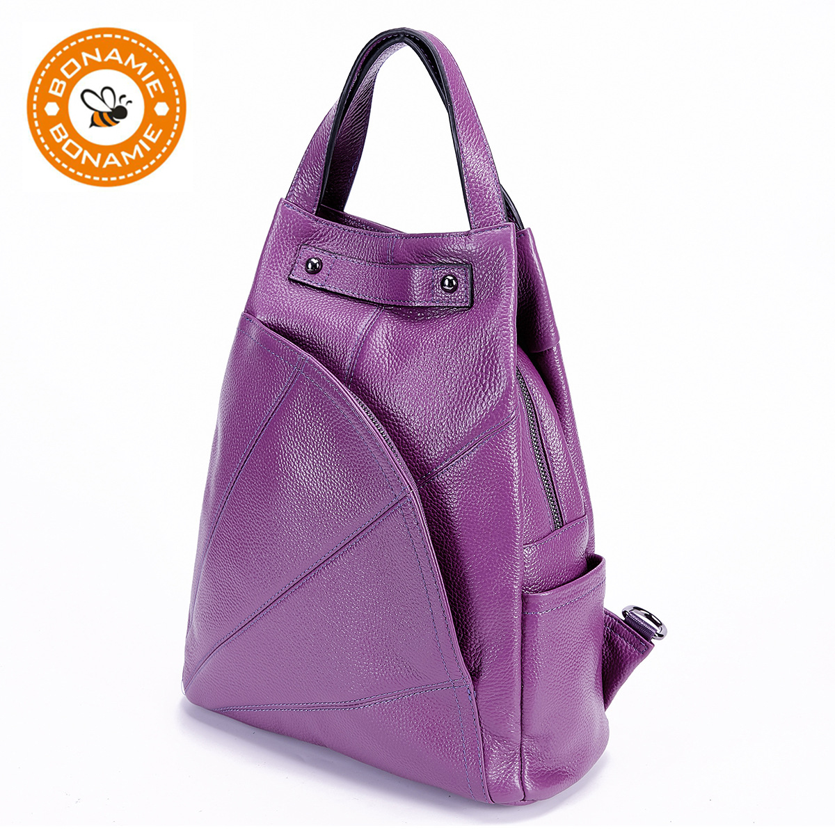 BONAMIE Purple Genuine Leather Backpack Women Brand School Backpack Real Leather Female Mochila Shoulder Bags For