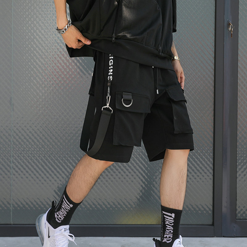 Streetwear Ribbons Casual Mens Shorts 2020 Summer Hip Hop Male Shorts Black Knee Length Multi-pockets Punk Short Pants Men
