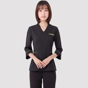 Image 4 - Spa üniforma şevval özçelik çalışma giyim takım teknisyeni sauna banyo ayak banyosu masaj ayak kısa kollu üniforma