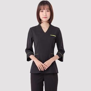 Image 4 - Spa uniforms Beautician working clothing tooling technician sauna bath foot bath massage foot short sleeved uniforms