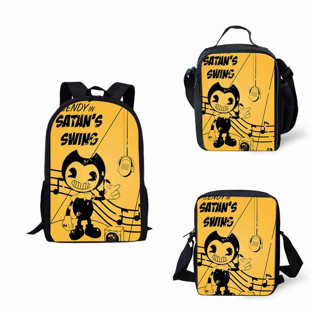 4ad9d7b8b5 ... 3set Bendy and the Ink Machine full School bag Backpack Messager Bag  Lunch Box case For ...