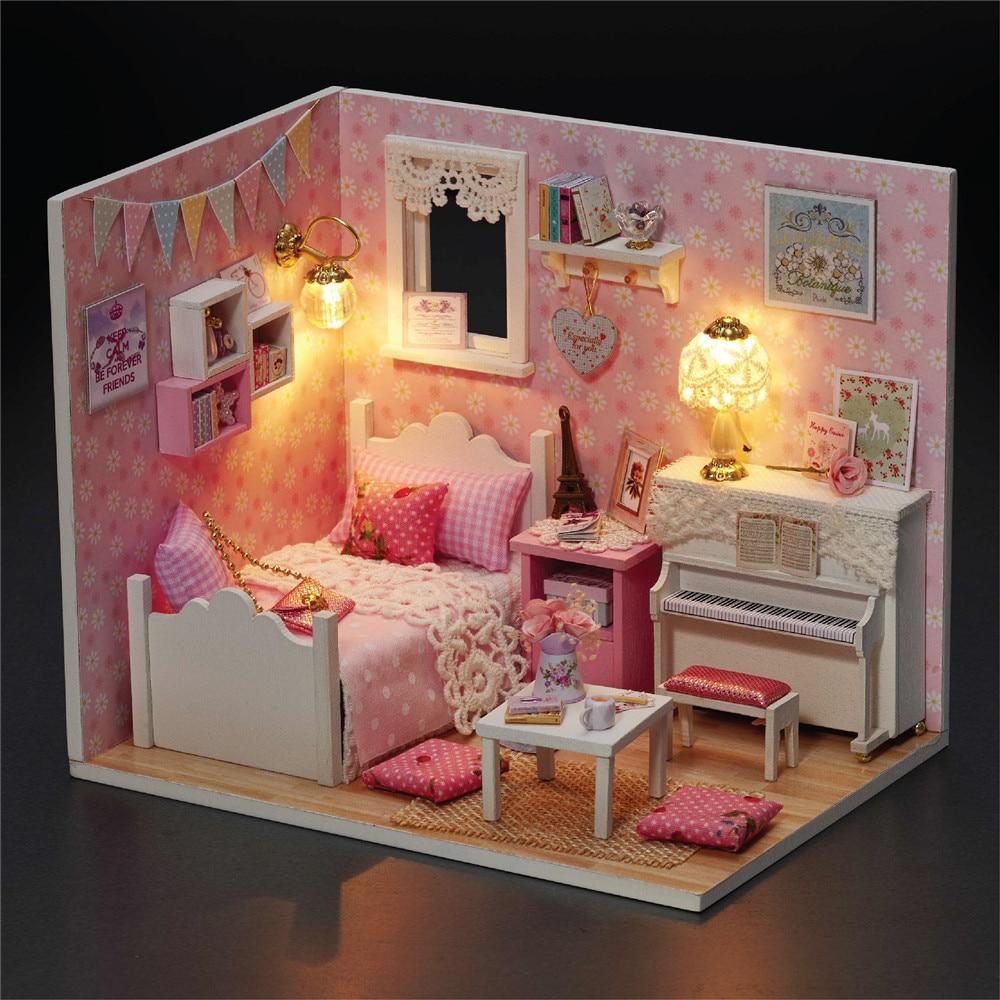 Cute սենյակ աղջիկ խաղալիքներ Diy House for Puppenhaus մանրանկարչություն կահույքի տուն Խաղալիքներ երեխաների համար փայտե տան խաղալիքներ -Sunshine Princess