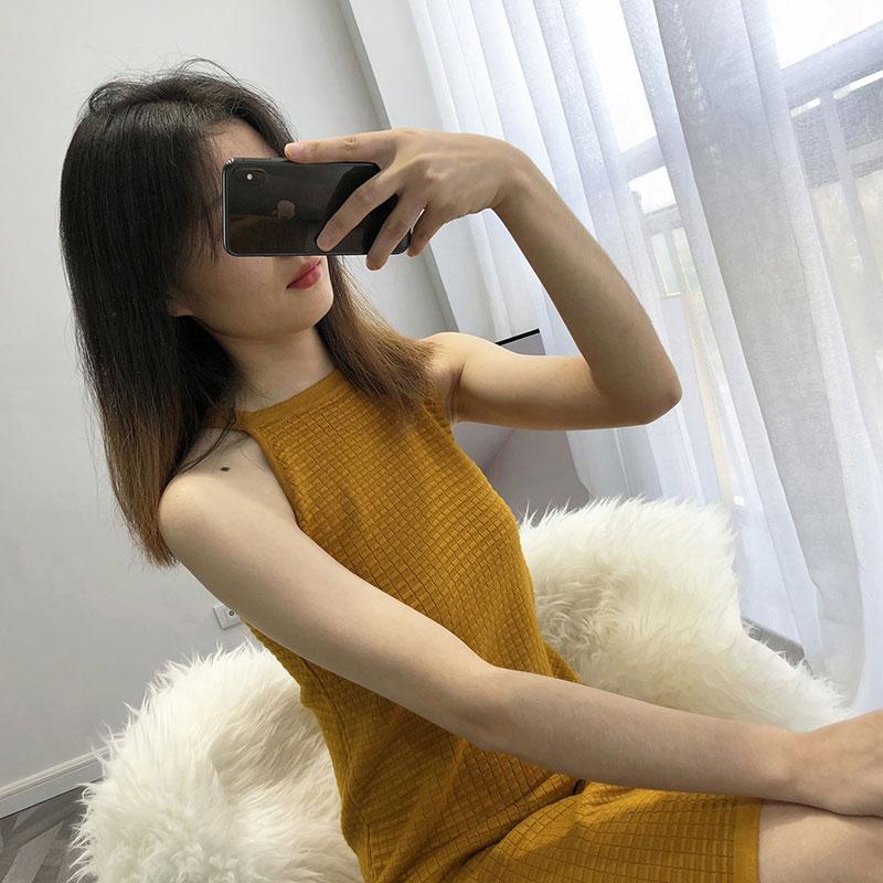 Sexy Tricoté gris Ciel jaune Printemps pu ardoisé Femme blanc Pull Noir Bretelles Femmes Hiver Robe pourpre 2019 XxqyIaPw71