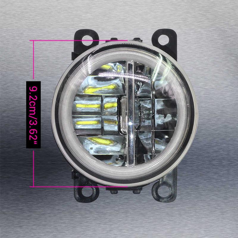 Cawanerl 2 X Car 4000LM LED Fog Light + Angel Eye Daytime Running Light DRL 12V For Renault Captur 2013 2014 2015 2016 2017