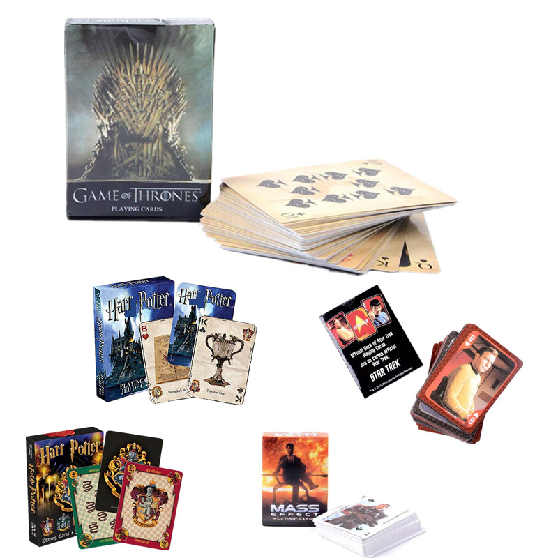 Harri Potter Game of Thrones Game Playing Cards Hogwarts House Star Treck Mass Effect Poker Waterproof Game Cards Figure Kid ToyHarri Potter Game of Thrones Game Playing Cards Hogwarts House Star Treck Mass Effect Poker Waterproof Game Cards Figure Kid Toy