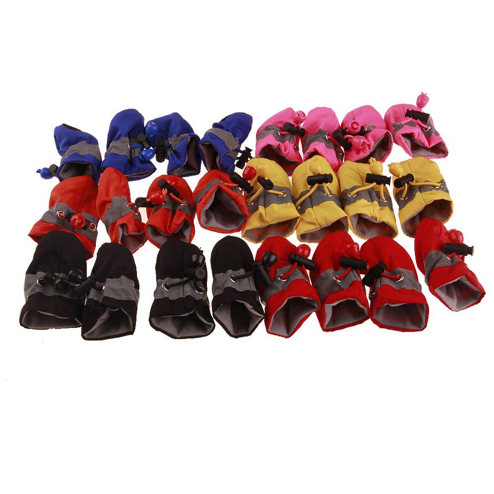 4 Pcs Waterproof Dog Shoes Reflective Anti Slip Rain Boots Adjustable Winter Warm Socks Sneaker Paw Protector For Dogs Cat F159