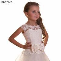 Girl Communion Party Prom Dresses Bow Ball Gown Short Sleeves Solid O Neck Princess Pageant Bridesmaid