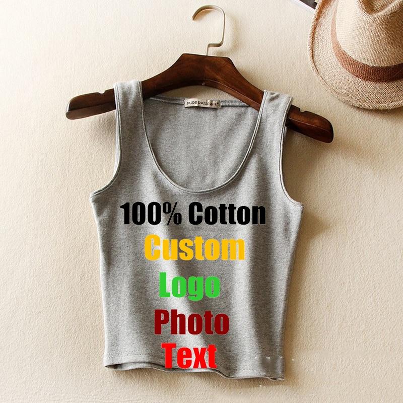8b05d3e4d29f2 Slim High Elastic Cotton Custom Logo Text printed Women Tanks Cropped Top T  shirt Sleeveless Lady