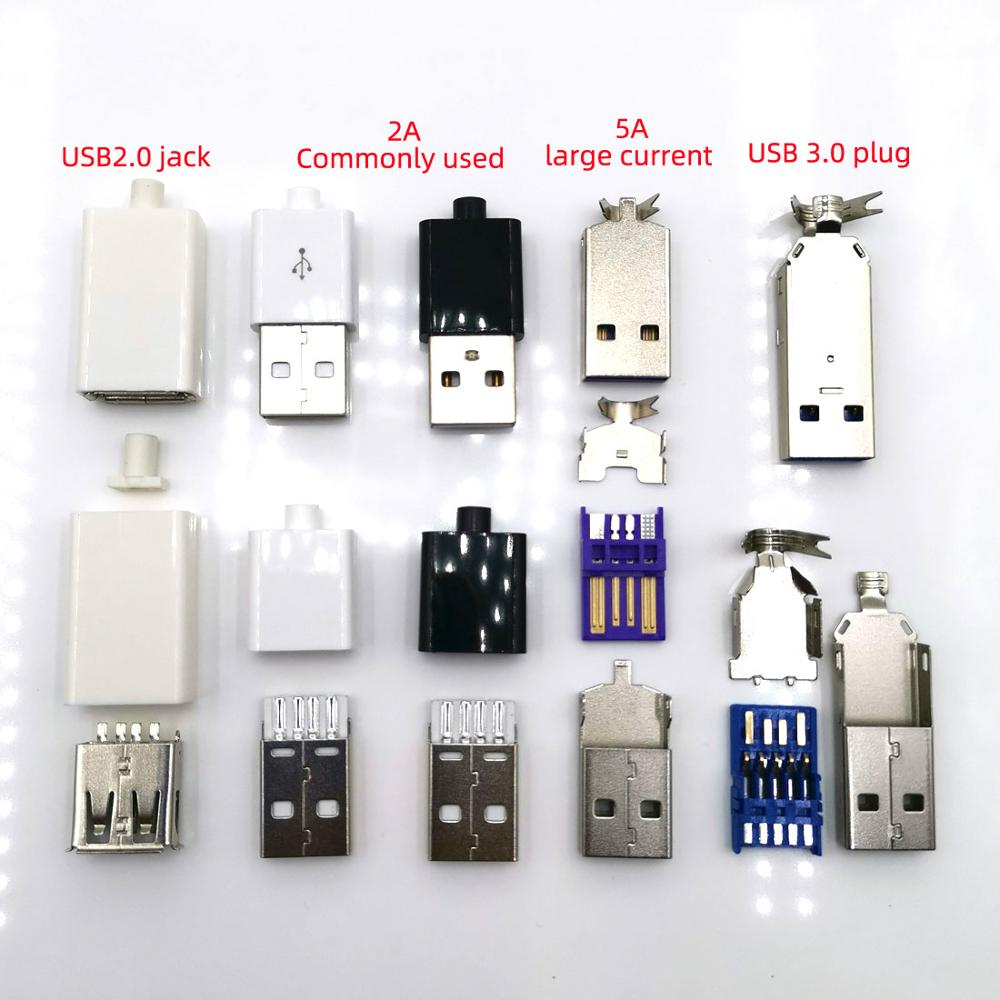 10set/lot Welded Wire Connector With Case USB2.0 Jack Type-A USB3.0 Male Plug 2A/5A Large Current Connection Adapter Accessories