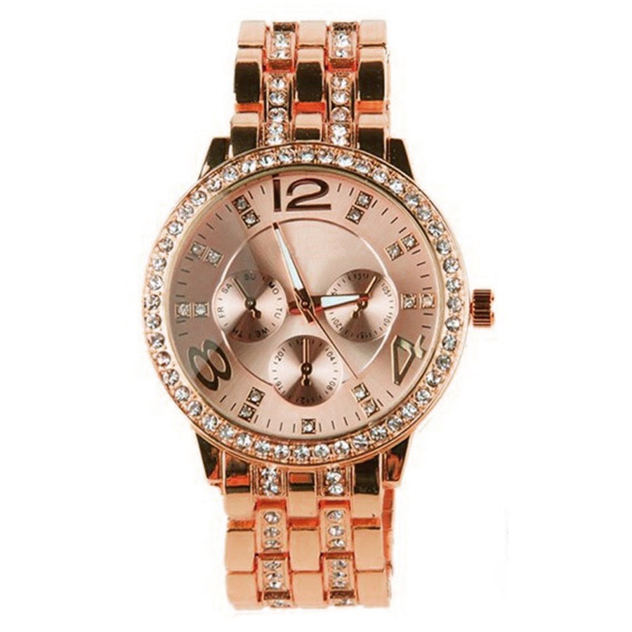 Top Quality Luxury Brand Womens Stainless Steel Quartz Wristwatch Women Elegant Fashion Rhinestone Ladies Watch Bracelet