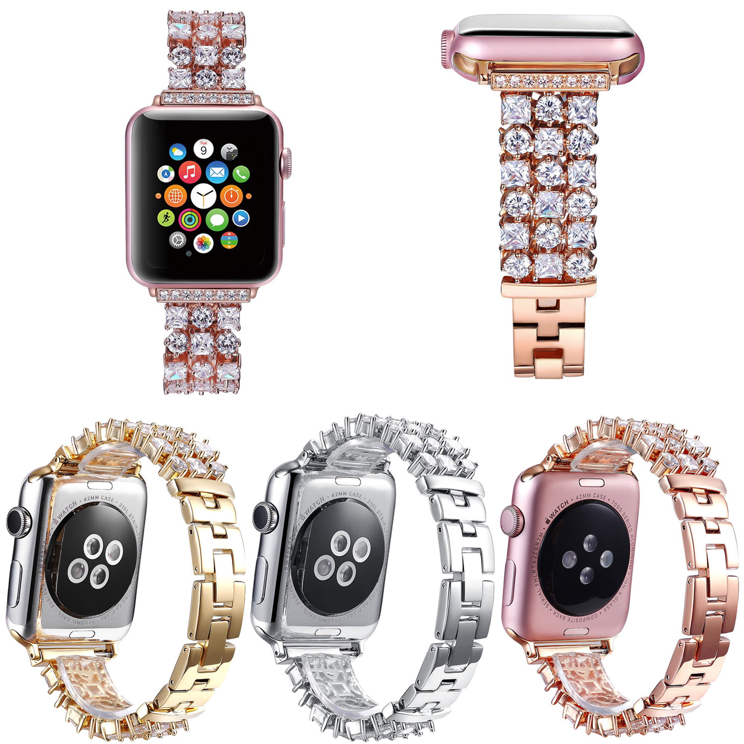 Bling Rhinestone Strap for Apple Watch Band Series 4 3 2 1 Stainless Steel Link Bracelet