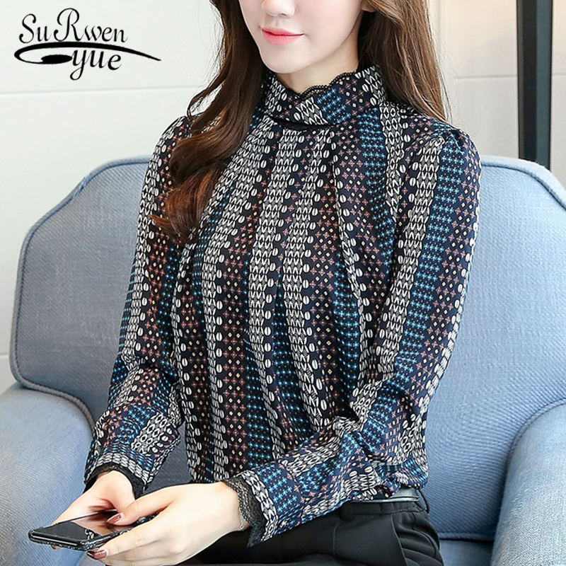new Fashion 2019 chiffon women   blouse     shirt   print blue striped women's clothing long sleeves office lady tops blusas C924 30