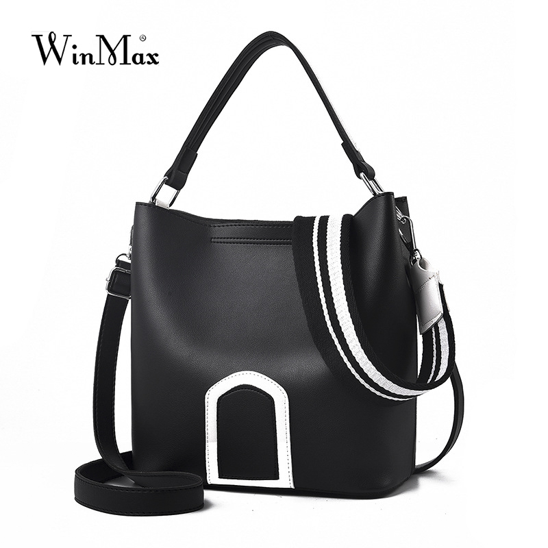 Winmax Luxury Brand Designer black Bucket Bag Women PU Leather Handbags Messenger Crossbody Shoulder Bag Purse Feminina Bolsas 2017 new women shoulder bags solid pu leather handbags ladies brand designer bucket handbag purse bolsas feminina casual totes