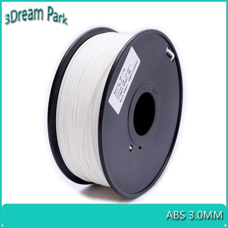 3Dream Park ABS 3.0mm 3D Printer Filament 1kg Spool White Plastic Material Extruding
