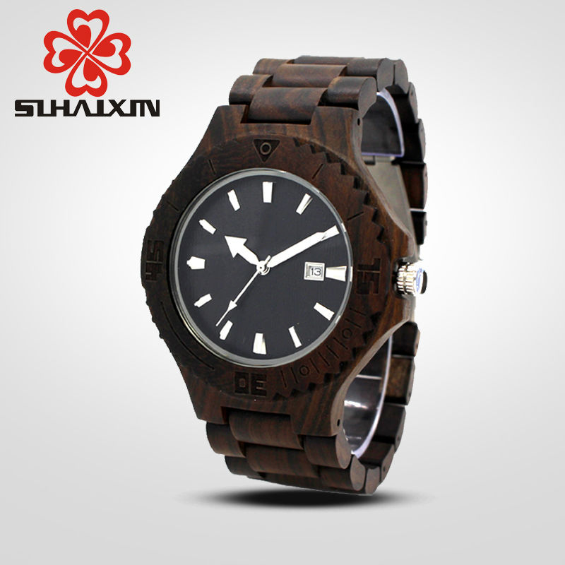 SIHAIXIN Luxury Brand Wood Watch Men Black Ebony Bamboo Wooden Band Watches Date Quartz Clock Male Wristwatch Relogio Masculino vintage wooden wristwatch full wood case analog classic zebra pattern band male female clock simple sport quartz watch relogio