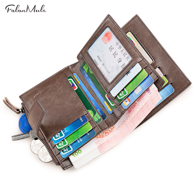 Genuine Leather Wallet Men New Male Wallet Short Leather Wallet Brand Purse Coin Purse Men Purse Male Short Purse Card Holder williampolo mens mini wallet black purse card holder genuine leather slim wallet men small purse short bifold cowhide 2 fold bag