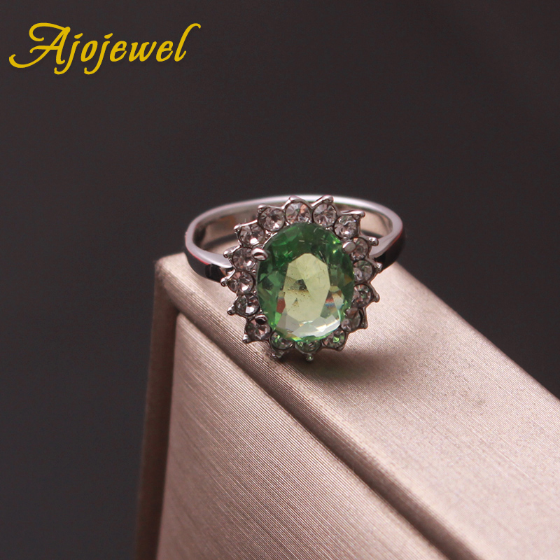 Ajojewel Classic Crystal Rhinestone Engagement Ring With Green Stone Women Finger Jewelry Supplier