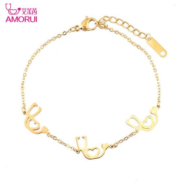 52d7b75923e1 Oro rosa oro plata estetoscopio pulseras para mujer pulseras mujer pulsera  mujer hombre Bracciali