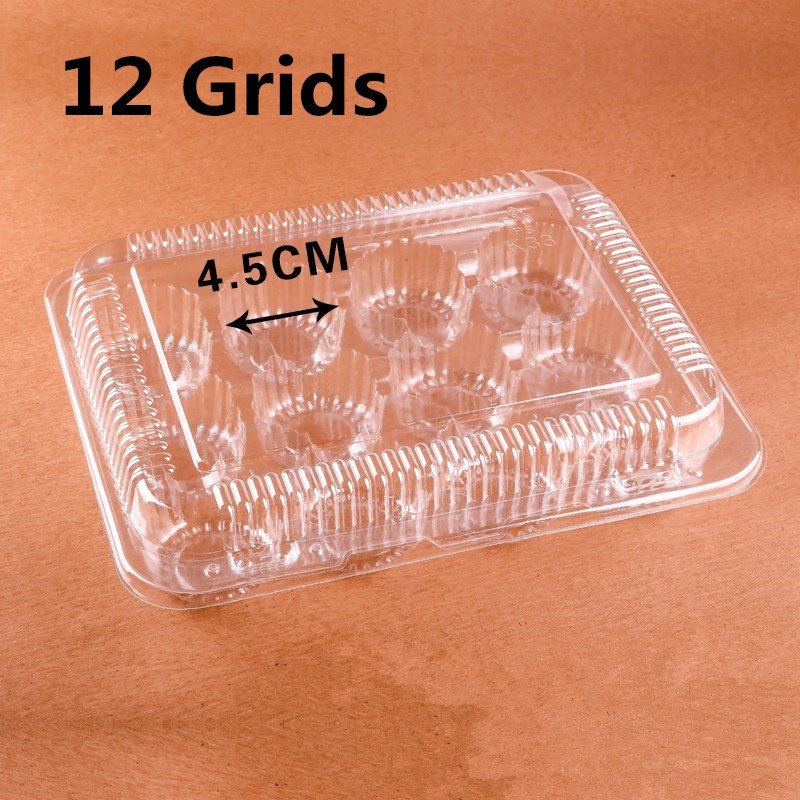 100pcs Hold 2/4/6/12 Cupcake Transparent Mini Cake Boxes Clear Cup Cake Holder Storage Cookie Packing Bakery Muffin Container