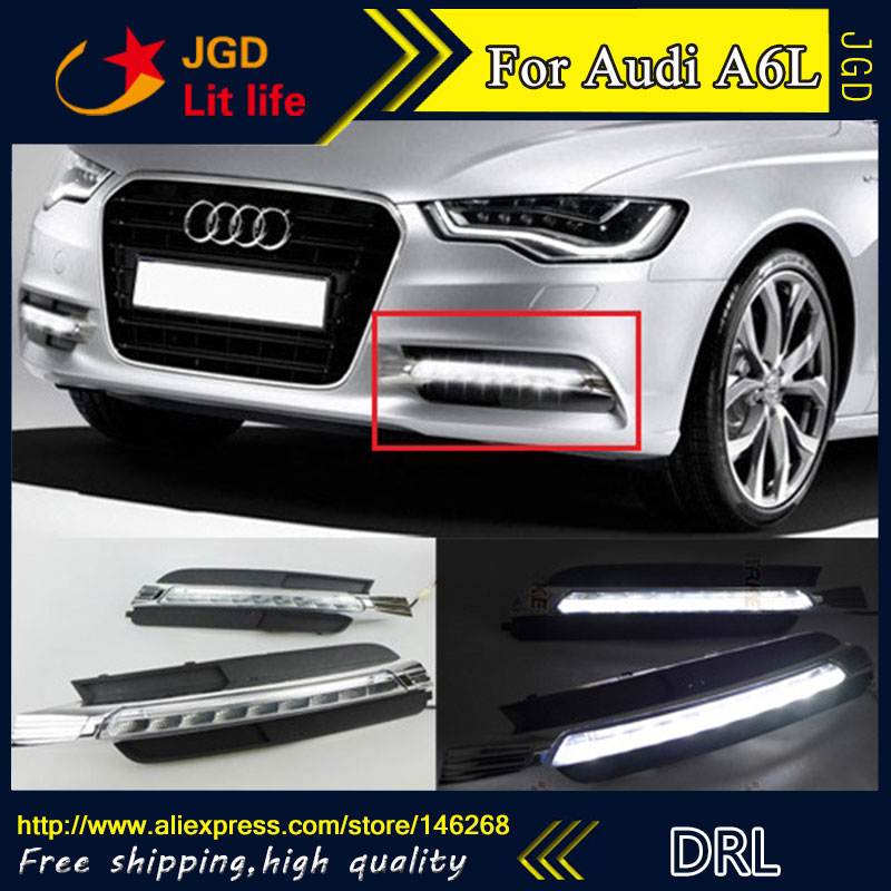 Free shipping ! 12V 6000k LED DRL Daytime running light for Audi A6L 2012 2013 2014 fog lamp frame Fog light Car styling
