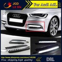 Free shipping ! 12V 6000k LED DRL Daytime running light for Audi A6L 2012 2013 2014 fog lamp frame Fog light Car styling