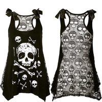 HQ 2017 New Women's Fashion Punk Style Skull Print Loose Lace Patchwork Bandages Casual Sleeveless Tank Top Plus Size U1BZHH2274
