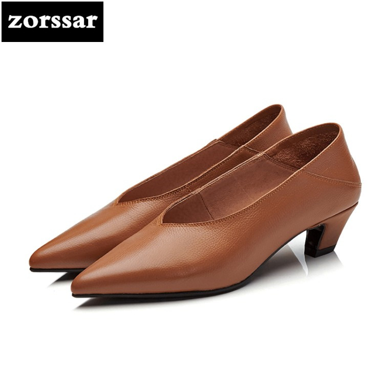 {Zorssar} 2018 NEW fashion Soft Genuine Leather Lazy womens shoes heels Slip on Pointed toe High heels pumps ladies dress shoes zorssar autumn ladies shoes wedges high heels women platform pumps fashion genuine leather horse hair pointed toe womens shoes