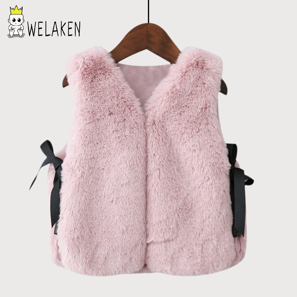 weLaken Baby Girls Imitation Fur Vest Children Clothing Autumn Winter Coat 2017 New Arrival Kids Waistcoat Girls Fashion Vests