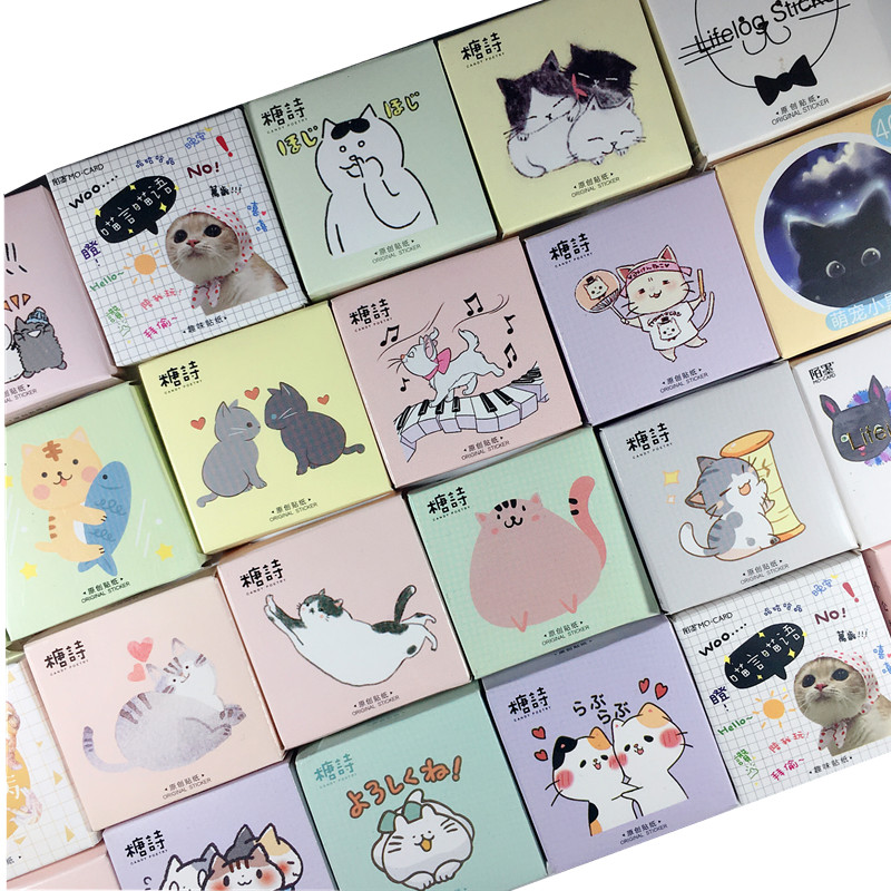 Kawaii Cat Collection Paper Small Diary Mini Japanese Cute Box Stickers Set Scrapbooking Cute Flakes Journal Stationery