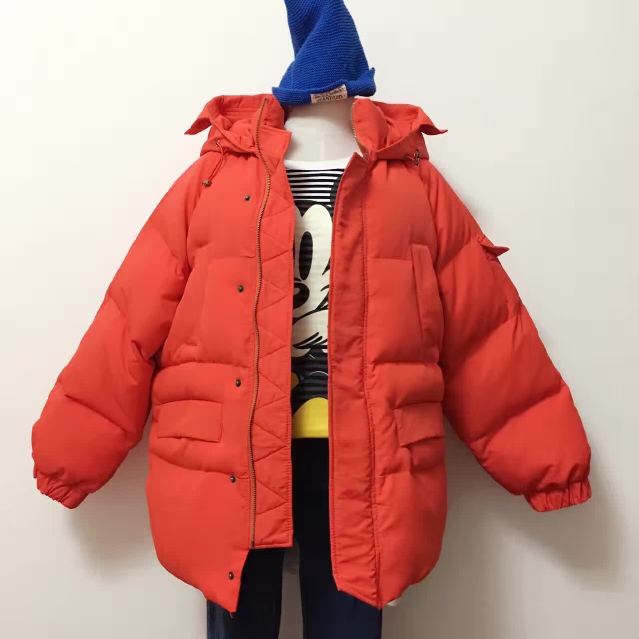Winter loose plus size candy color medium-long thickening with a hood down wadded jacket female cotton-padded jacket bread