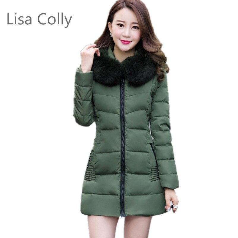 Lisa Colly 2017 Autumn winter women hooded coat fur collar thicken warm long jacket female M-4XL outerwear parka 3 Colours