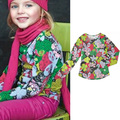 Free Shipping 2013 autumn Catimini Big flower T-shirt girl printed long sleeve t-shirt 100% cotton tee children's top