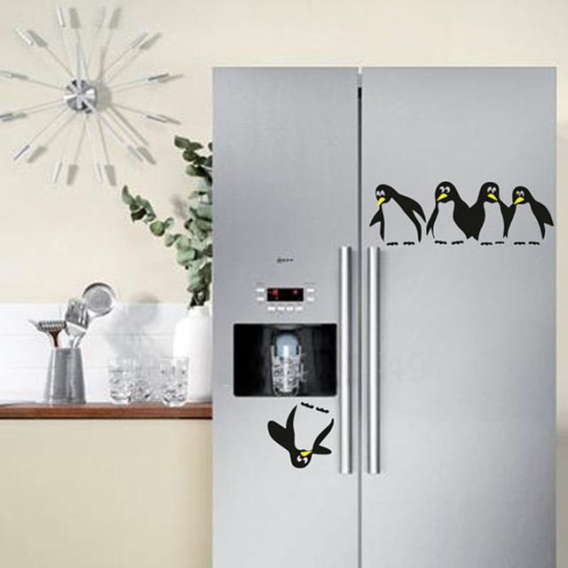 Free Shipping Funny Penguin Kitchen Fridge Sticker Fridge Decals - Wall decals dining room