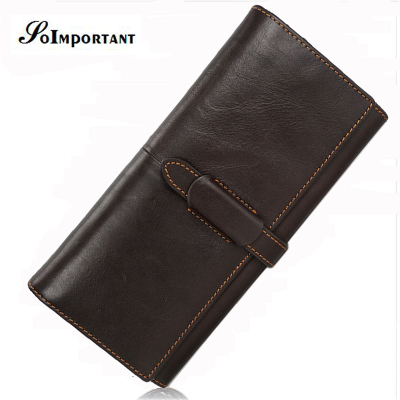 Luxury Brand Genuine Cowhide Leather Men Wallets Portomonee Vintage Walet Male Wallet Men Long Clutch with Coin Purse Pocket