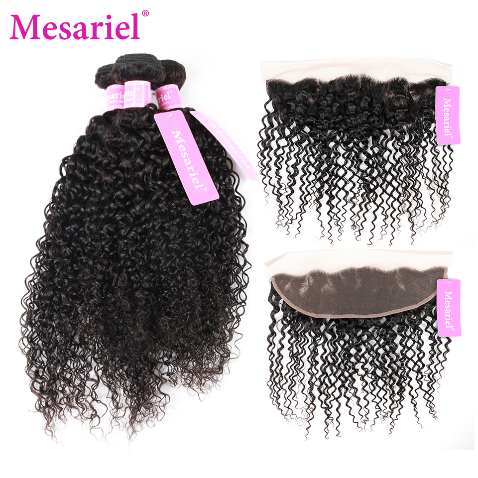 Mesariel Peruvian Kinky Curly Human Hair 3 Bundles With 13*4 Lace Frontal Closure Non-Remy Weaving Natural Color Free Shipping