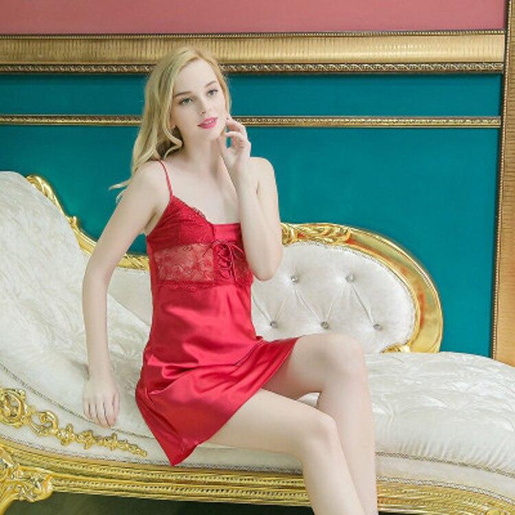 ... Nightgowns  reputable site 5ebe5 7b53b Women Sexy Silk Satin Nightgown  Lace Nighty Sleeveless Nightdress V neck Night ... 06b38a511