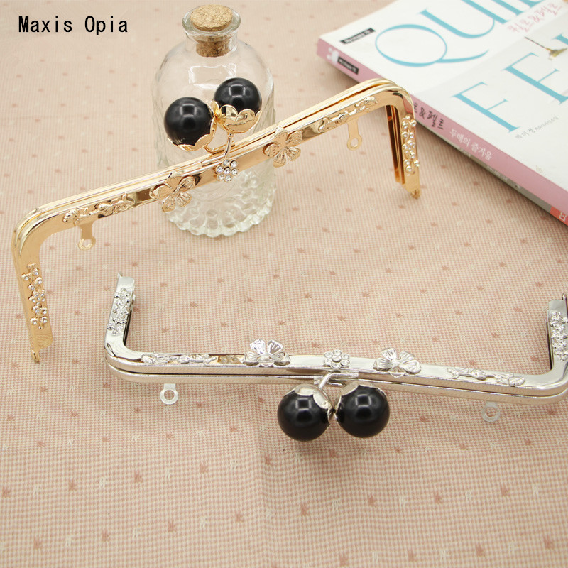 Size 23.5 cm Silver Gold Crystal Solid Black Kiss Lock Sewing Coin Purse Frame Metal Handles For Handbags Obag Parts Purse Frame