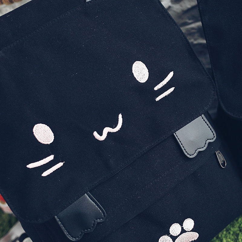 HTB1CR5MOVXXXXaSaFXXq6xXFXXXQ - Women Cute Cat Backpack Canvas Kawaii Backpacks School Bag for Student Teenagers Lovely Rucksack Cartoon Bookbags Mochilas