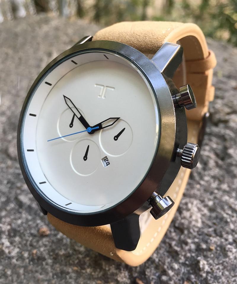 Men Fashion Business Quartz Watches 2016 Original Brand Casual Auto Date Brown Leather Silver Clock Wrist Watch For Men сумка hidesign business fleming 03 fleming 03 brown