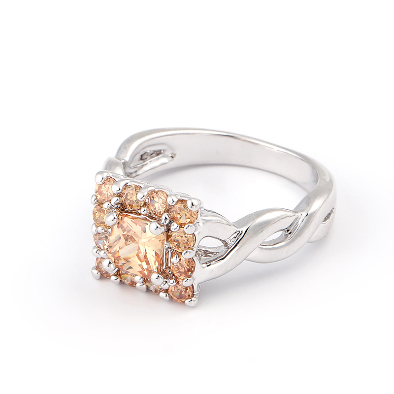 Hd Shooting Without Repair White & Champagne Square Ring