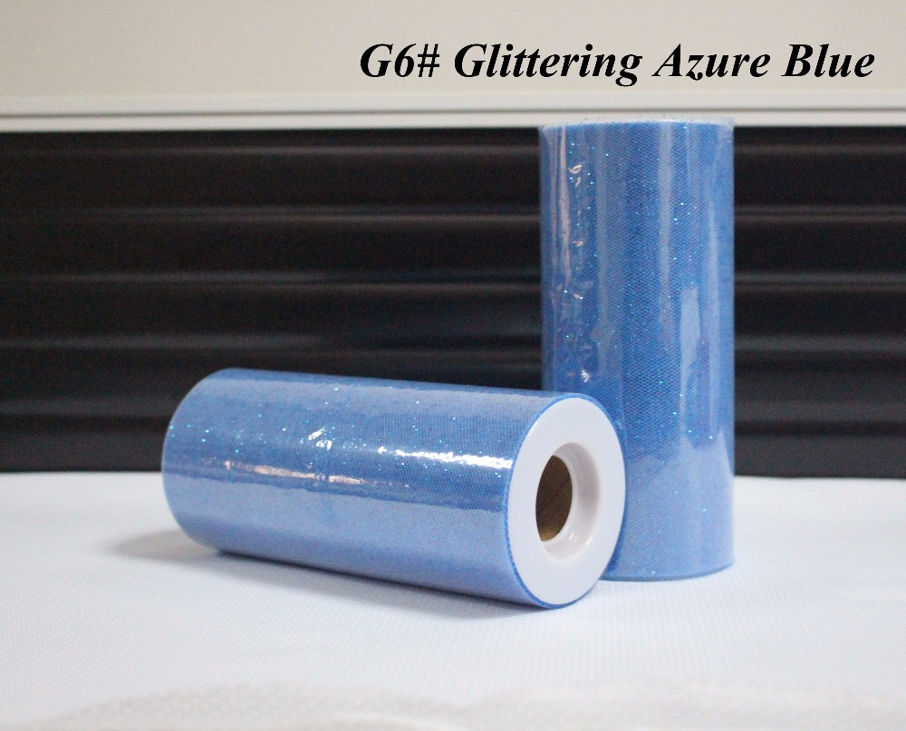 / Glitterende Azure blauwe kleur 25yards Tulle Roll - Feestversiering en feestartikelen - Foto 1