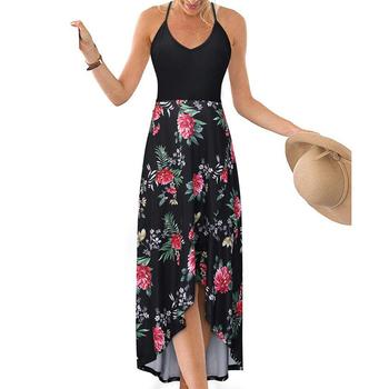 Moda verano mujeres flor estampado Sling espalda descubierta Spaghetti Strap cuello pico Irregular señora noche fiesta vestido de verano Maxi