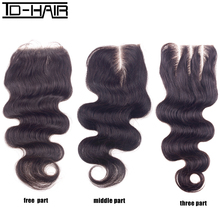 Brazilian Body Wave Closure Middle Part Middle Part Closure Brazilian Lace Closure Bleached Knots Human Hair Closure TD HAIR