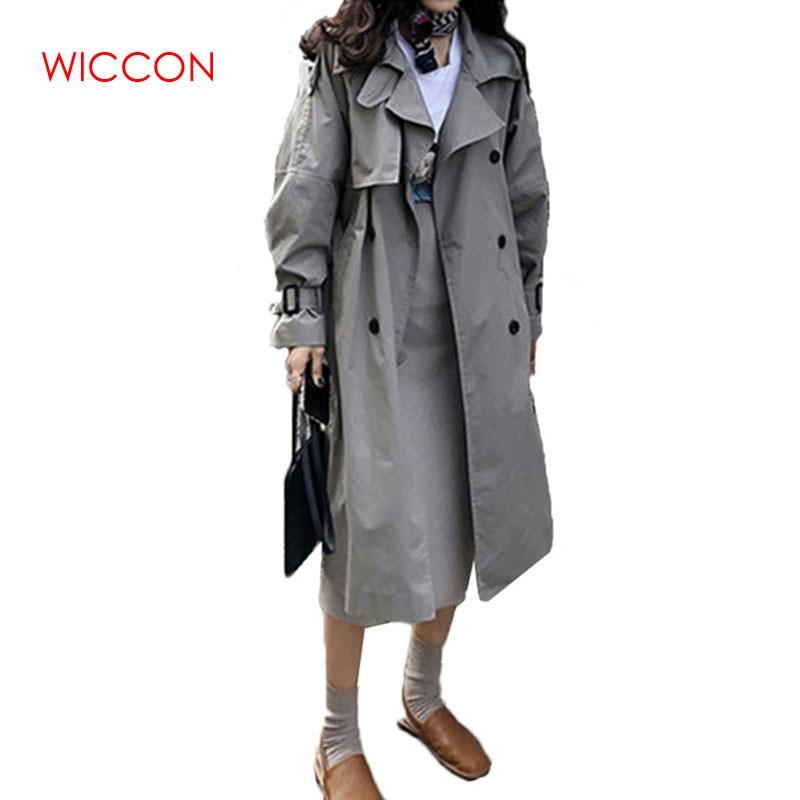 Women Autumn Korean Windbreak 2019 Fashion Double Breasted Mid-long   Trench   Coat Mujer Loose Belt large size Outwear