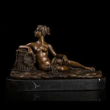 ATLIE BRONZES Classical hot cast bronze nude girl figurine art lady sitting sculpture statue home decoration Christmas gifts