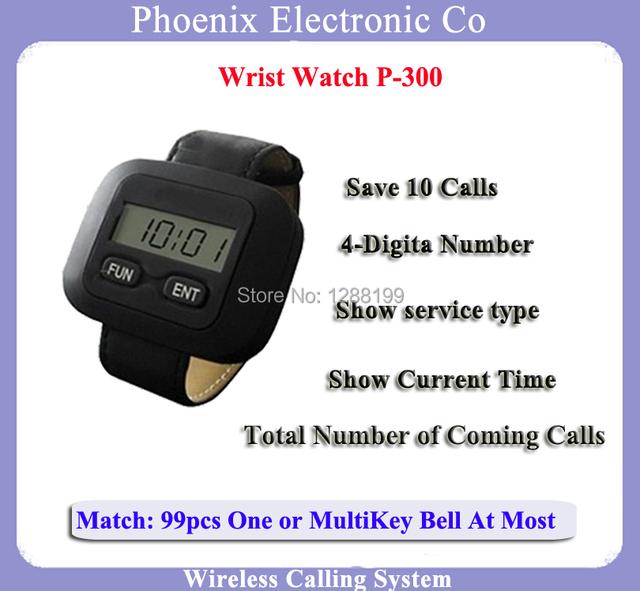 Relógio de pulso Pager Para Equipamentos de Cozinha do Restaurante Chamada Garçom Sistema de Chamada Sem Fio Com Bateria Recarregável