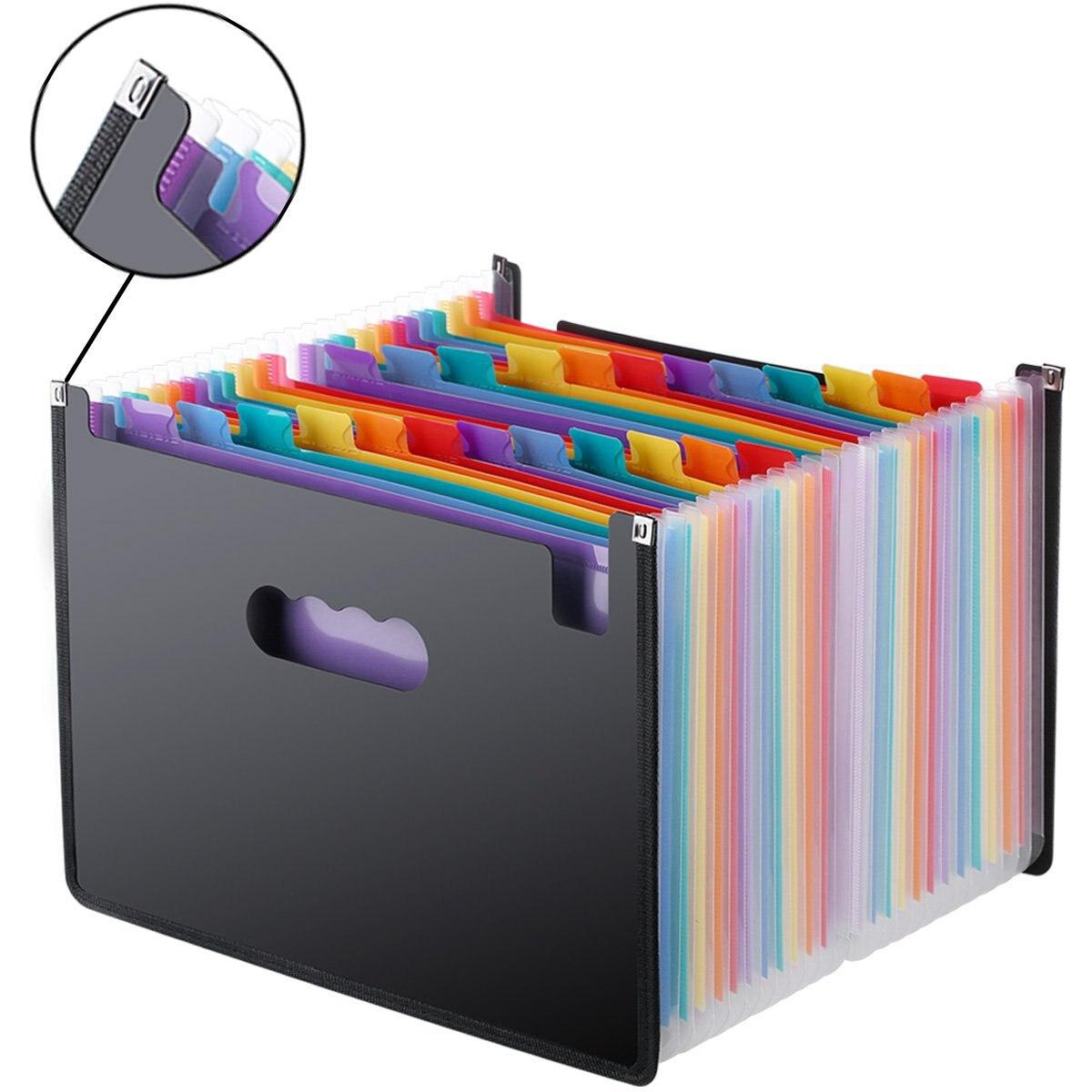 La expansión de carpeta de archivo 24 bolsillos negro cartera A4 documento carpeta organizador de oficina de escritorio de papel de soporte