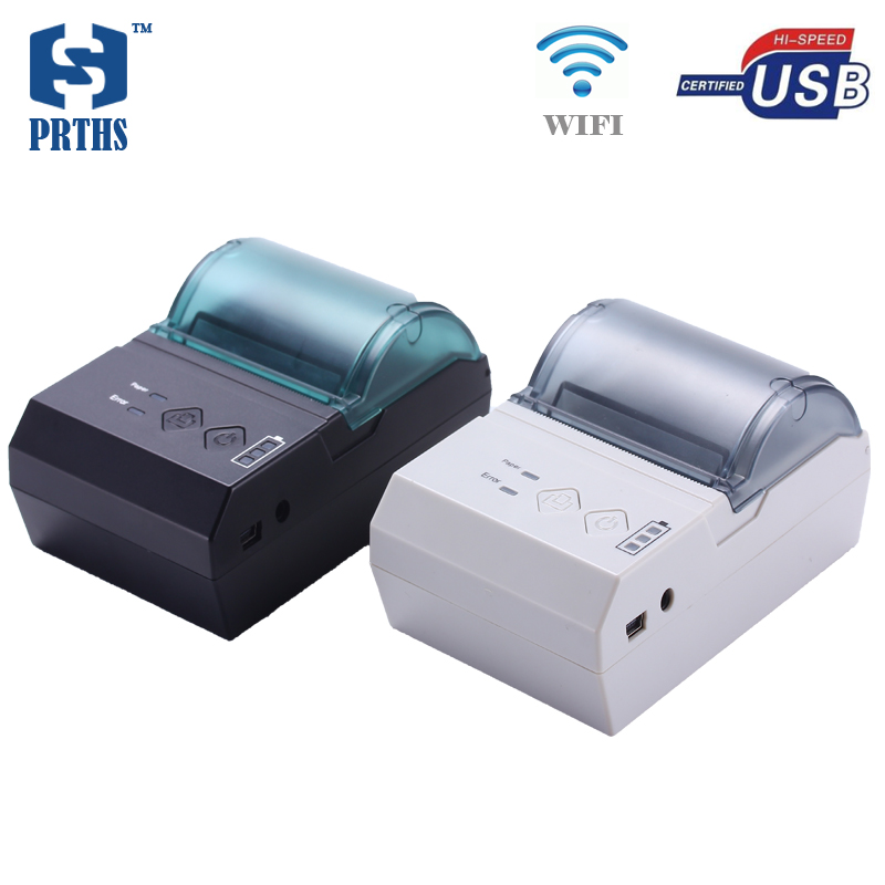 58mm portable WIFI printer USB mini thermal pos bill printer support unintermittent sticker label QR code printing for business supermarket direct thermal printing label code printer