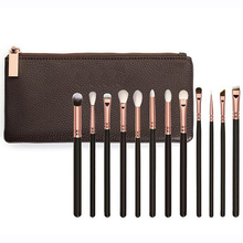 Brand makeup brushes set complete luxury cosmetic tool 8 12 15 rose golden brush kit blend brush with leather bag professional