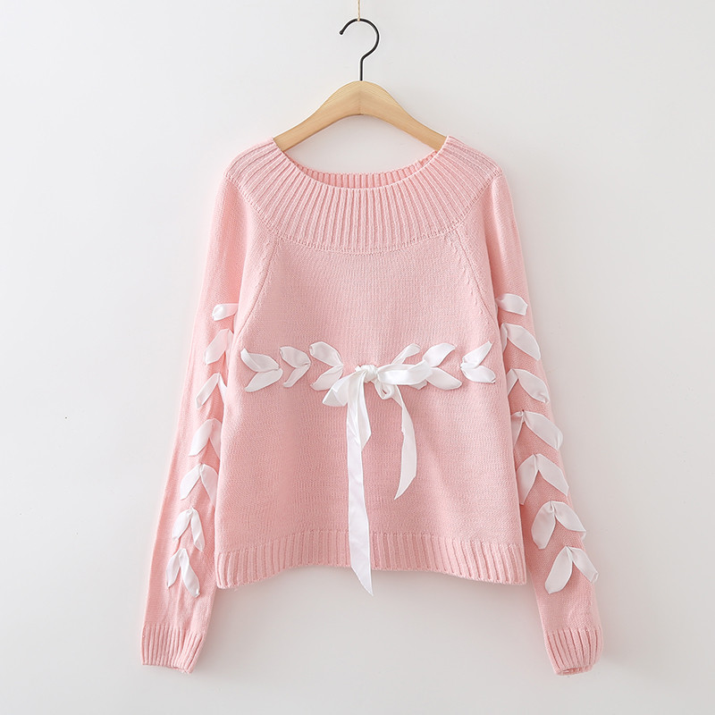 2018 Autumn Winter Women Fashion Sweaters and Pullovers Solid Color Knitting Sweater Female Lace Up Loose Casual Tops Jumpers